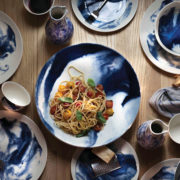 1882 Ltd x Faye Toogood Indigo Storm Pasta Bowls - Set of 2 - 1882 Indigo Storm Group Shot The Garnered Lifestyle 3