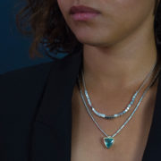 Handmade Silver Square Bead Necklace - Abby Mosseri Square Bead And Trillion Lifestyle The Garnered