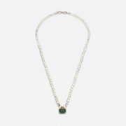Handmade Silver Bead Chain with Tourmaline - Abby Mosseri Tourmaline Square Silver Bead Necklace The Garnered