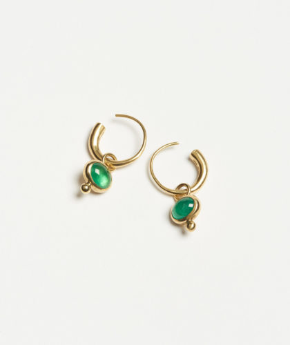 The Garnered - Emerald Hoops Earrings Abby Mosseri Jewellery The Garnered 18