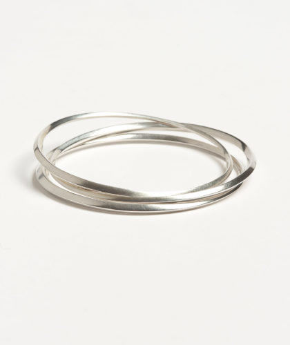 The Garnered - Oblique Silver Bangle Abby Mosseri Jewellery The Garnered 69