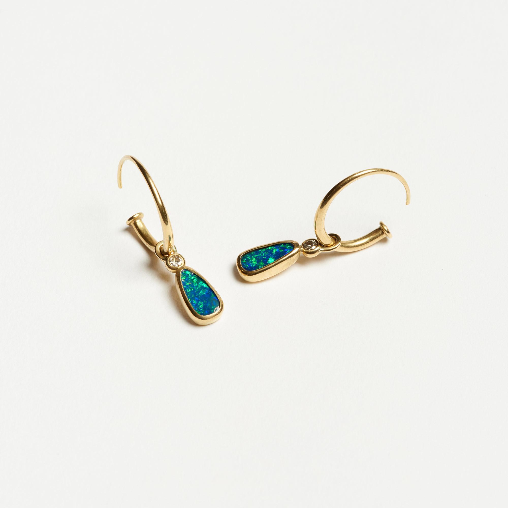 13dbcd9a2 Abby Mosseri 18K Gold Freeform Opal & Diamond Earrings | The Garnered