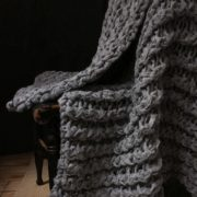 Large Twisted Rib Cloud Grey Throw - Gray Twisted Rib Adrienne Rogers Textiles The Garnered Styled 3