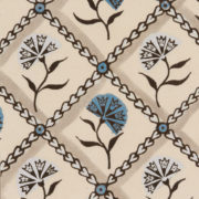 'Carnations' Wallpaper in Blue - Antoinette Poisson Wallpaper Oeillets The Garnered