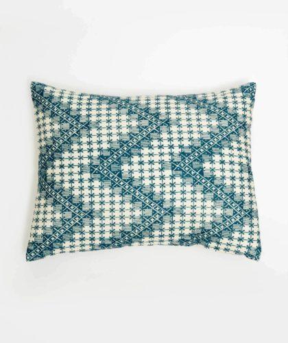The Garnered - Revised Large Blue Zigzag Cushion