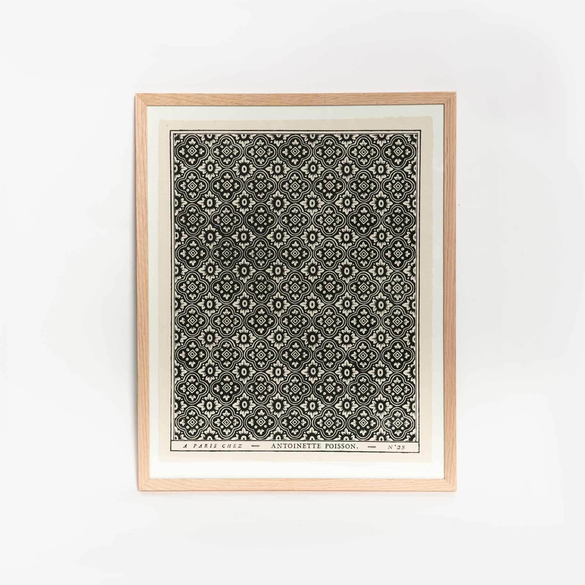 Black white framed hand printed domino paper black white framed hand printed domino paper