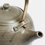 Tall Dark Grey Handmade Stoneware Teapot and Tea Bowl Set - Arielle De Gasquet Handmade Teapot Grey Detail The Garnered