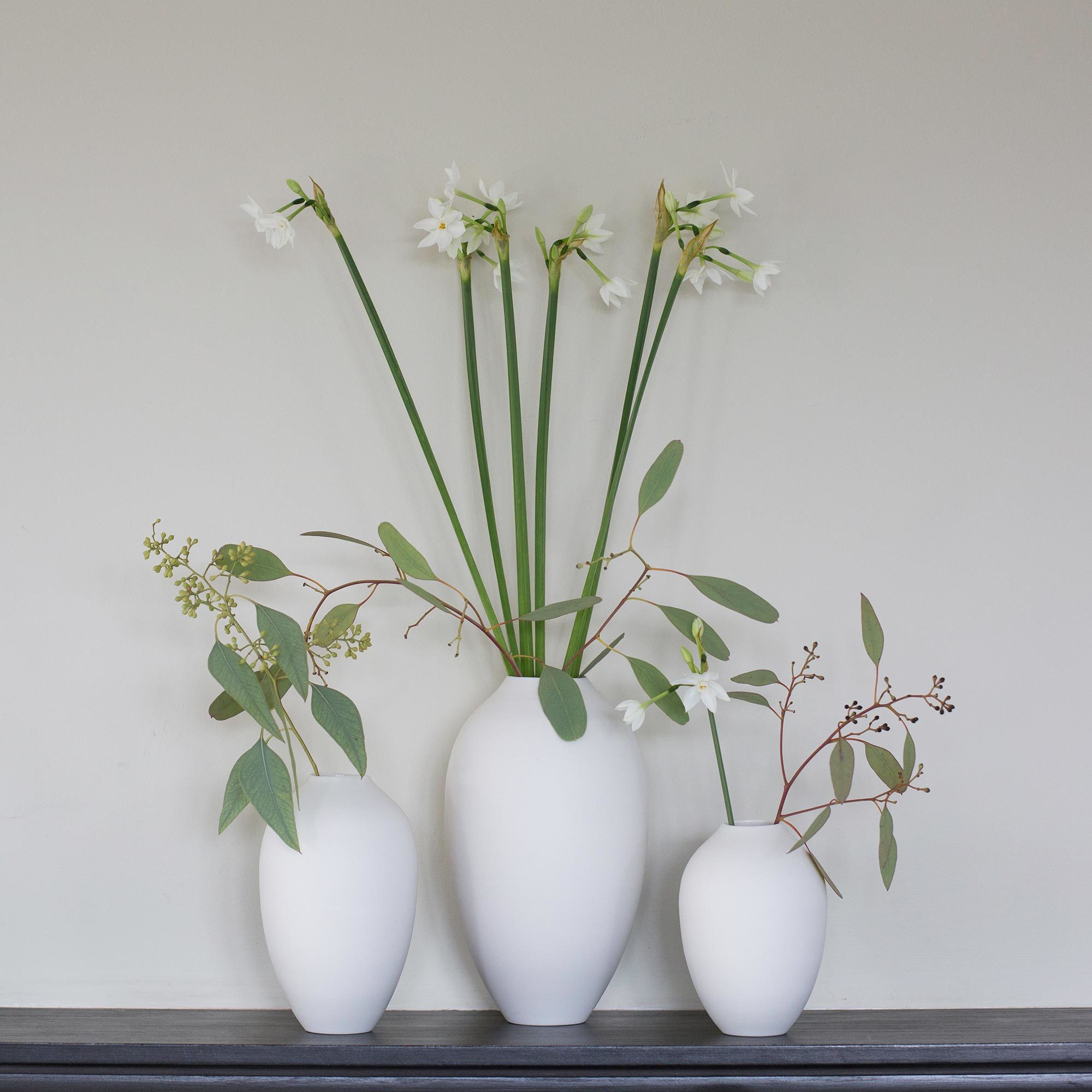 Mother Of Pearl Cream Flower Large Square Decor Vase: Set Of 3 Hand-Thrown Porcelain Cocoon Vases