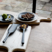 Hand-Turned Black Finish Maple Lollipop Spoon - Blackcreek Mercantile Trading Wood Cutting Boards Tableware The Garnered 4