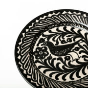 Set of 4 Hand-Painted Black & White Ceramic Dessert Plates - Black 20Cm Dessert Plate Casa Lopez Ceramics The Garnered Detail