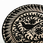 Hand-Painted Black & White Ceramic Classic Dinner Plate - Black 26Cm Classic Plate Casa Lopez Ceramics The Garnered Detail