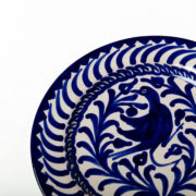 Set of 4 Hand-Painted Blue Ceramic Dessert Plates - Blue 20Cm Dessert Plate Casa Lopez Ceramics The Garnered Detail