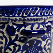 Hand-Painted Blue Ceramic Ice Bucket - Blue Ice Bucket Casa Lopez Ceramics The Garnered Handle