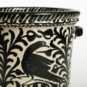 Hand-Painted Black & White Ceramic Ice Bucket - Casa Lopez Black Ice Bucket The Garnered Detail