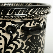 Hand-Painted Black & White Ceramic Ice Bucket - Casa Lopez Black Ice Bucket The Garnered Handle