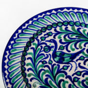 Set of 4 Hand-Painted Green & Blue Ceramic Classic Dinner Plates - Green Blue 26Cm Classic Plate Casa Lopez Ceramics The Garnered Detail