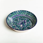 Hand-Painted Green & Blue Ceramic Large Salad Bowl - Green Blue 32Cm Salad Bowl Casa Lopez Ceramics The Garnered