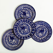 Set of 4 Hand-Painted Blue Ceramic Dessert Plates - Group Blue 20Cm Dessert Plates Casa Lopez Ceramics The Garnered
