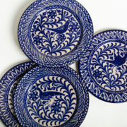 Set of 4 Hand-Painted Blue Ceramic Classic Dinner Plates - Group Blue 26Cm Classic Plates Casa Lopez Ceramics The Garnered