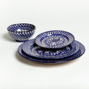 Hand-Painted Blue Ceramic Classic Dinner Plate - Group Blue Plates Bowl Casa Lopez Ceramics The Garnered 2