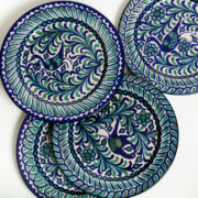 Set of 4 Hand-Painted Green & Blue Ceramic Classic Dinner Plates - Group Green Blue 26Cm Classic Plates Casa Lopez Ceramics The Garnered Detail