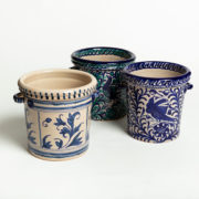 Hand-Painted Blue Leaf Ceramic Ice Bucket - Group Ice Bucket Casa Lopez Ceramics The Garnered