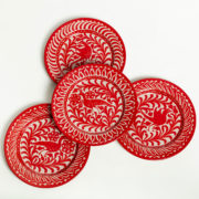 Hand-Painted Red Ceramic Dessert Plate - Group Red 20Cm Dessert Plates Casa Lopez Ceramics The Garnered