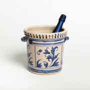 Hand-Painted Blue Leaf Ceramic Ice Bucket - Leaf Blue Ice Bucket Casa Lopez Ceramics The Garnered Bottle