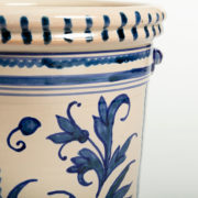 Hand-Painted Blue Leaf Ceramic Ice Bucket - Leaf Blue Ice Bucket Casa Lopez Ceramics The Garnered Detail