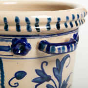 Hand-Painted Blue Leaf Ceramic Ice Bucket - Leaf Blue Ice Bucket Casa Lopez Ceramics The Garnered Handle
