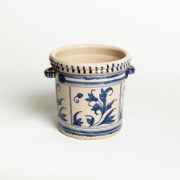 Hand-Painted Blue Leaf Ceramic Ice Bucket - Leaf Blue Ice Bucket Casa Lopez Ceramics The Garnered