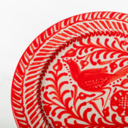 Set of 4 Hand-Painted Red Ceramic Classic Dinner Plates - Red 26Cm Classic Plate Casa Lopez Ceramics The Garnered Detail