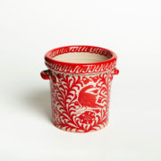 Hand-Painted Red Ceramic Ice Bucket - Red Ice Bucket Casa Lopez Ceramics The Garnered