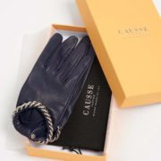 Ivanna Lambskin Gloves with Chain Trim - Causse Navy Ivanna Gloves The Garnered 37