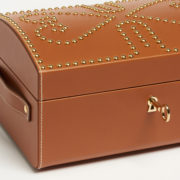 Leather Nomadic Jewellery Chest with Gold Studs - Connolly Box Leather The Garnered 4