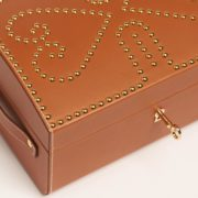 Leather Nomadic Jewellery Chest with Gold Studs - Connolly Box Leather The Garnered 5