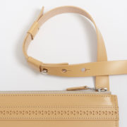 Parchment Brogue Cross-Body Bag - Parchment Leather Brogue Bag Doe Leather The Garnered Detail
