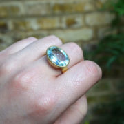 Handmade 18K Gold Aquamarine Ring - Disa Allsopp Fine Handcrafted Jewelry 18 K Gold Aquamarine Ring The Garnered Model