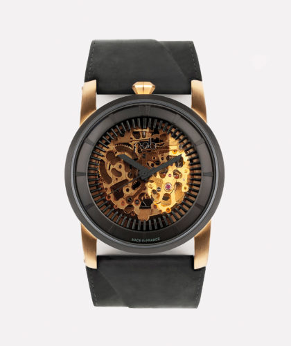 The Garnered - Fob Rehab 413 Gold Black Suede Strap Fob Watches The Garnered 8