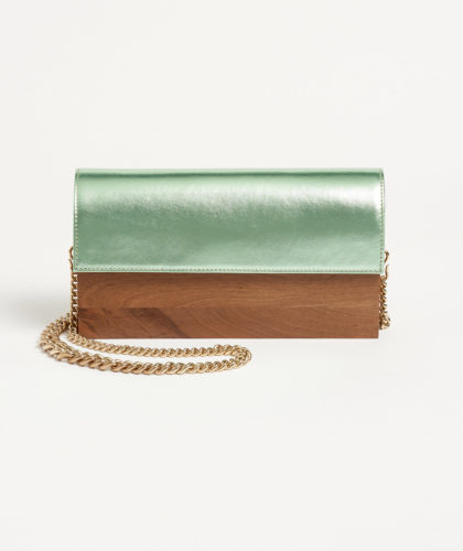The Garnered - Simona Clutch Walnut Metallic Grey Hugo Matha Bags The Garnered 1