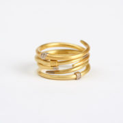 Stack of Crossover Rings in Yellow, Red and White Gold (Sold Separately) - Jean Scott Moncrieff Crossover Rings Rose Gold Silver Stack The Garnered