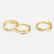 Stack of Crossover Rings in Yellow, Red and White Gold (Sold Separately) - Jean Scott Moncrieff Crossover Rings Yellow Rose Gold The Garnered