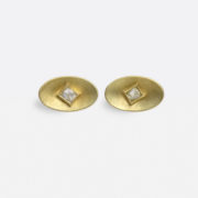 Handmade 'Green' Gold Earstuds with Octahedral Diamonds - Jean Scott Moncrieff Gold Earstuds Octahedral Diamonds The Garnered