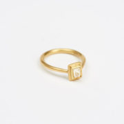 Handmade Gold Ring With Natural Uncut Octahedral Diamond - Jean Scott Moncrieff Gold Ring Octahedral Diamond Side The Garnered
