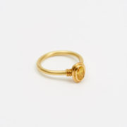Handmade Gold Ring with Natural Fancy Yellow Diamond - Jean Scott Moncrieff Gold Ring Yellow Diamond Side The Garnered