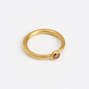 Handmade 18K Gold Tapered Ring with Rose-Cut Cognac Diamond - Jean Scott Moncrieff Gold Tapered Ring Cognac Diamond Side The Garnered