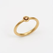 Handmade 18K Gold Tapered Ring with Rose-Cut Cognac Diamond - Jean Scott Moncrieff Gold Tapered Ring Cognac Diamond The Garnered