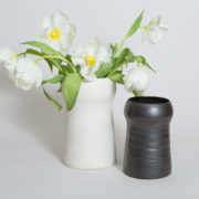 Large Matte White Stoneware Stupa Vase  - Stupa Vase Kathy Erteman Ceramics The Garnered Styled