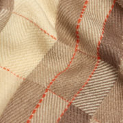 Lidi Limited-Edition Handmade Baby Blanket in White, Mocha & Scarlet - Maria Sigma Red Stripe Blanket The Garnered Detail