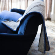 Phaedra Hand-Woven Wool Throw with Marine Blue Detail  - Phaedra V2 Throw Maria Sigma Textiles The Garnered Styled